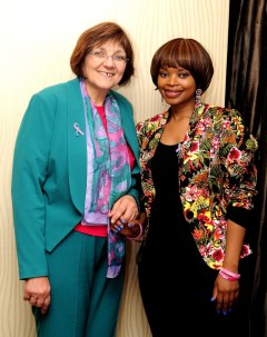 CANSA CEO Sue Janse Van Rensburg and breast cancer survivor Ms Zoleka Mandela at the press briefing of the World Cancer Leaders' Summit.