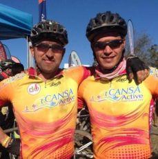 Erasmus Pretorius cycling with Wilbur Smith