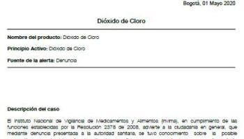 Colombia también alerta sobre el dióxido de cloro, falso remedio contra el coronavirus promocionado por una secta y prohibido por las autoridades