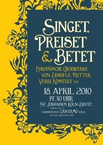 "Plakat ""Singet, preiset & betet"""