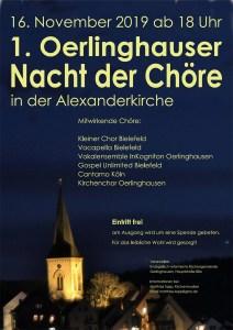 Plakat: Oerlinghauser Nacht der Chöre