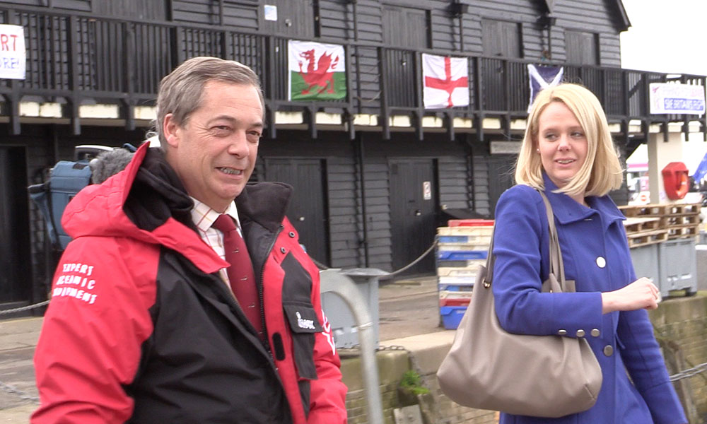 Farage in Whitstable harbour