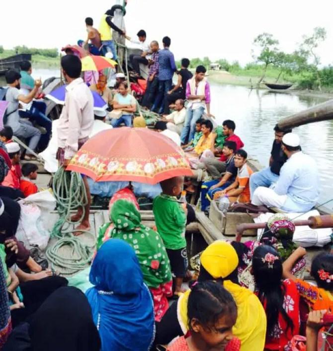 Crowded fishing trawler to Saint Martins Island Bangladesh
