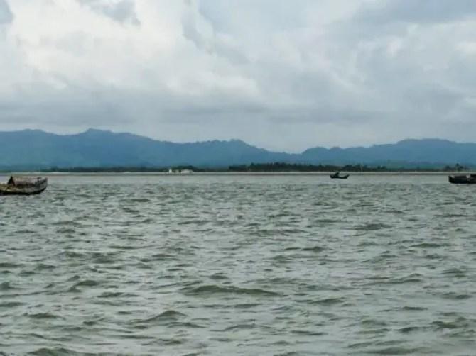 View of Myanmar from Bangladeshi fishing trawler