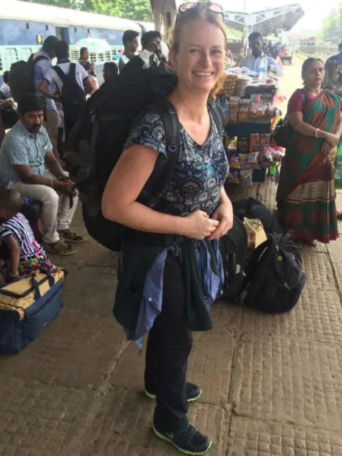 Massive backpack on Mangalore Train Station, India