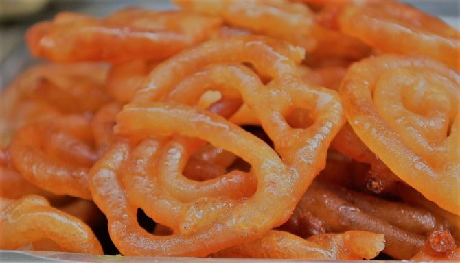Jalebis Indian Snack or Sweet. Fried batter soaked in sugar syrup