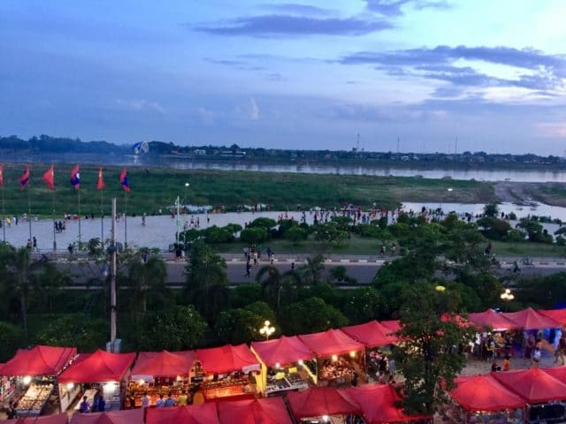 Sunset over the Mekong River in Vientiane, Laos