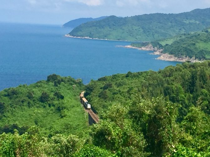 Views of the Annamite Mountains and the South China Sea from the Hai Van Pass in Vietnam