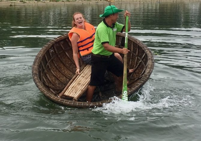 Crazy Basket Boat Dancing with Jack Tran Tours in Hoi An, Vietnam