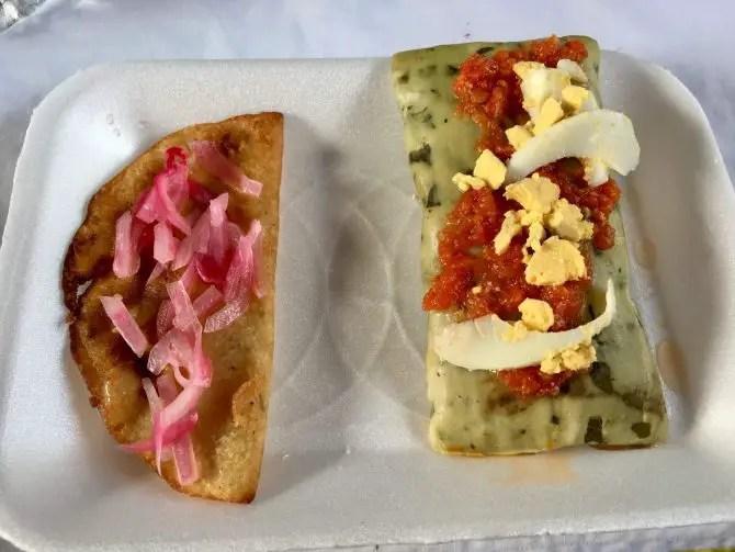 Mayan Empanada and Tamale de Chaya. Choo Ha Cenote Tour