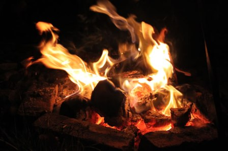a crackling fire