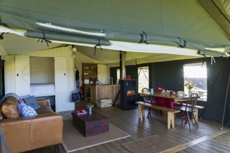 The living space inside the tents