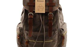 7ddf51e341 BLUBOON(TM) Vintage Men Casual Canvas Leather Backpack Rucksack Bookbag  Satchel Hiking Bag (