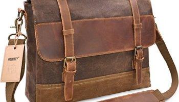 0132669c8f NEWHEY Mens Messenger Bag Waterproof Canvas Leather Computer Laptop Bag  15.6 Inch Briefcase Case Vintage Retro