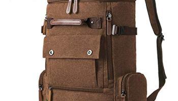 b3d9006d2f Vbiger Vintage Canvas Backpack Men s Outdoor Hiking Travel Large ...