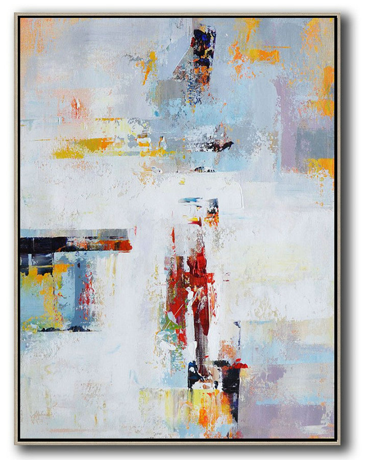 Original Extra Large Wall Art Vertical Palette Knife Contemporary Art Original Abstract Painting Canvas Art White