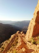 Looking down the South Kaibab Trail at Ooh-Aah Point on a sunny afternoon.