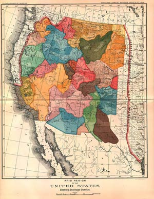 John Wesley Powell map showing drainage districts of the arid Western states
