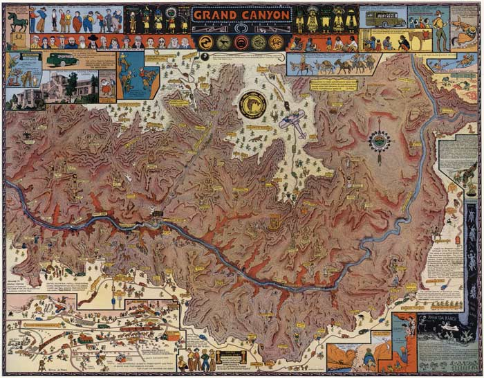 Cartoon travel map of Grand Canyon drawn by Jo Mora