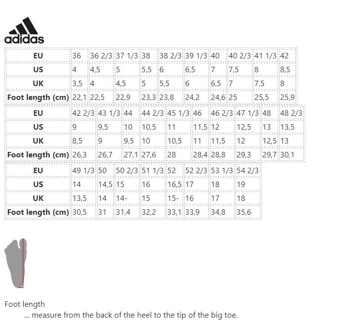 Adidas Size Chart