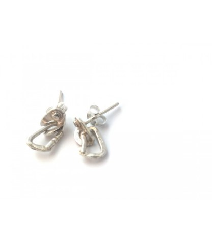 FIXE063 Earrings in sterling silver, bolt hanger with carabiner