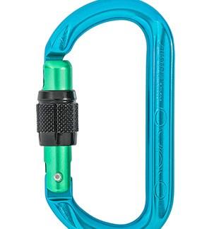 AustriAlpin ovAlo - Mousqueton symétrique à vis | anodisé bleu vert | édition limité