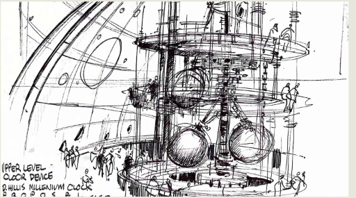 The clock works by gears and levers, and is something Galileo or Da Vinci would recognize. Blueprints, Drawings