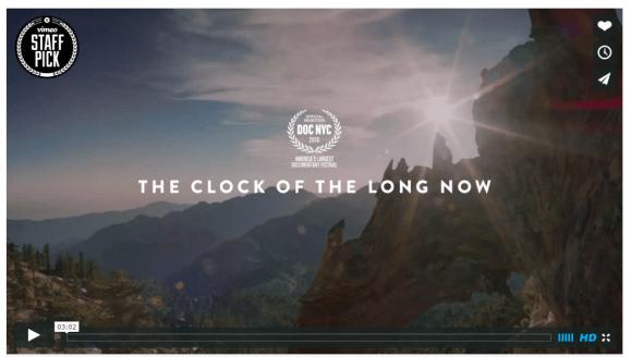 clock of thee long now Vimeo Billboard screenshot