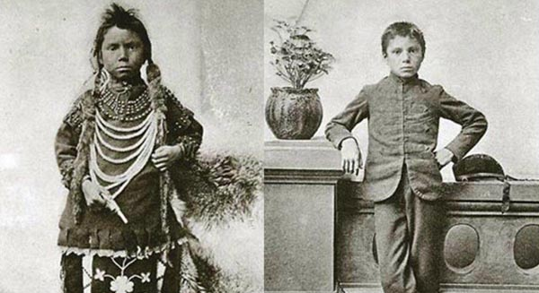 LEFT: Thomas Moore as he appeared when admitted to the Regina Indian Industrial School, May 1874 (DETAIL). RIGHT: Thomas Moore, after tuition at the Regina Indian Industrial School. Source: Library and Archives Canada/Annual report of the Department of Indian Affairs (1896)/AMICUS 90778/nlc-01524, 90778/nlc-01525