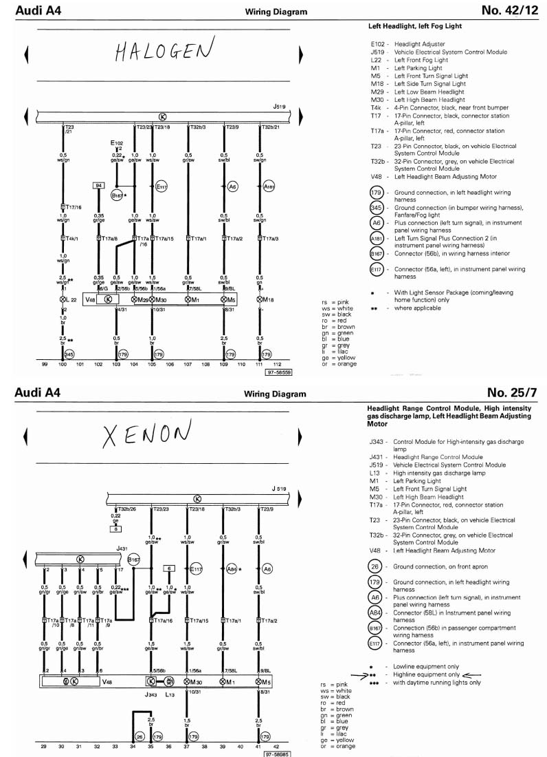 Audi A3 Xenon Wiring Diagram Third Level Headlights Wire Database Library Volkswagen Golf Headlight