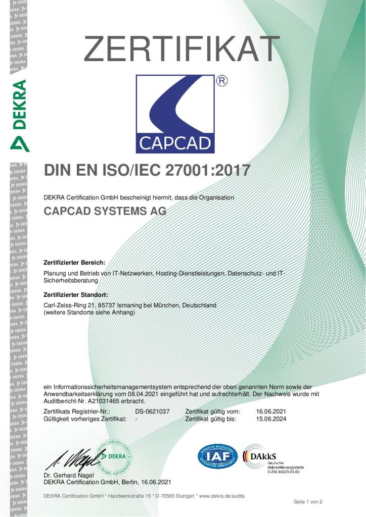 CAPCAD SYSTEMS AG ISO 27001:2017 Zertifzierung | ISO 27001 Zertifizierung