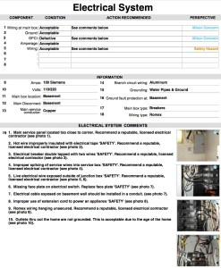 Inspection report sample page.