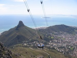The cable-car photographed from India-Venster Route on Table Mountain