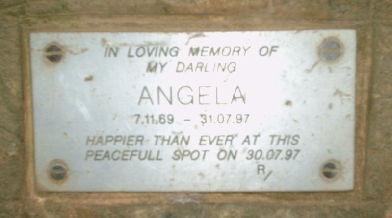 "Plaque in memory of ""Angela"""
