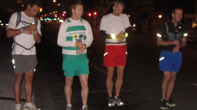 At the start of Cape Town Marathon route in Adderley Street, Cape Town, with Richard Donovan.