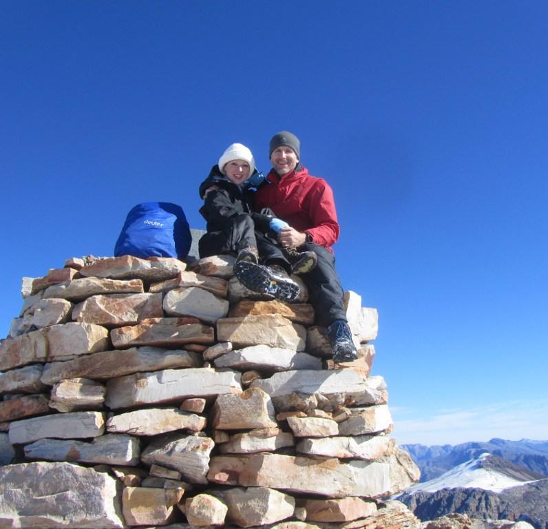 Summiting Matroosberg Peak in winter.