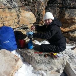 Lunch just below the summit, Matroosberg Peak.