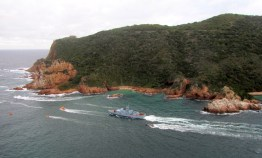 SAS Umhloti steaming through the Knysna Heads