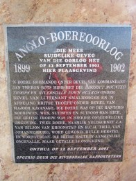 Plaque on the monument to the Southernmost conflict of the Anglo-Boer War