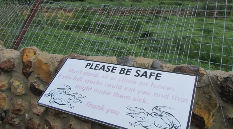 Funny sign at crocodile enclosure, Garden Route Game Reserve