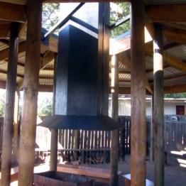Harkerville Hut lapa fireplace