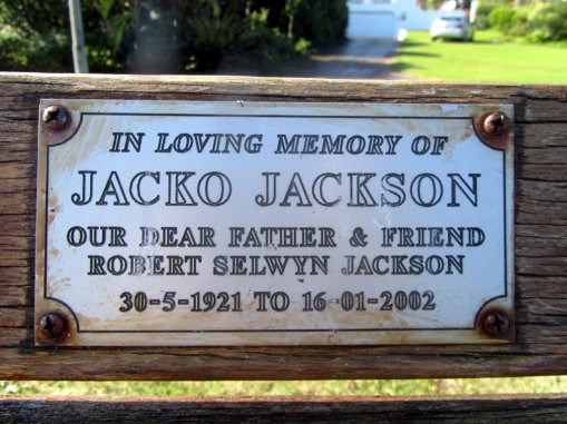 Jacko Jackson memorial bench plaque, Leisure Isle