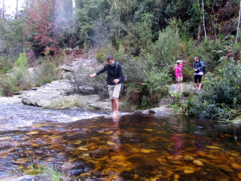 Crossing the Hoogekraal River, Outeniqua Trail
