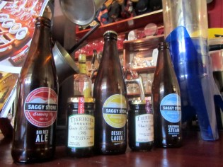 Range of beers at Saggy Stone Brewery