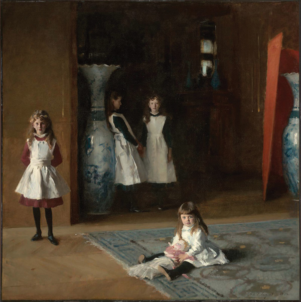 John Singer Sargent (American, 1856–1925), The Daughters of Edward Darley Boit, 1882. Oil on canvas. 87 3/8 x 87 5/8 in. Acc. #19.124. Gift of Mary Louisa Boit, Julia Overing Boit, Jane Hubbard Boit, and Florence D. Boit in memory of their father, Edward Darley Boit.