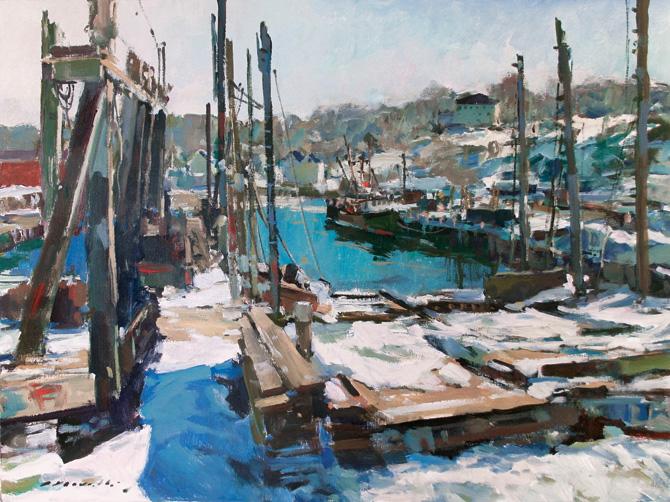 Charles Movalli (1945–2016), Marine Railways, 2014. Acrylic on canvas. Gift of Dale Movalli, 2016 [2016.59].