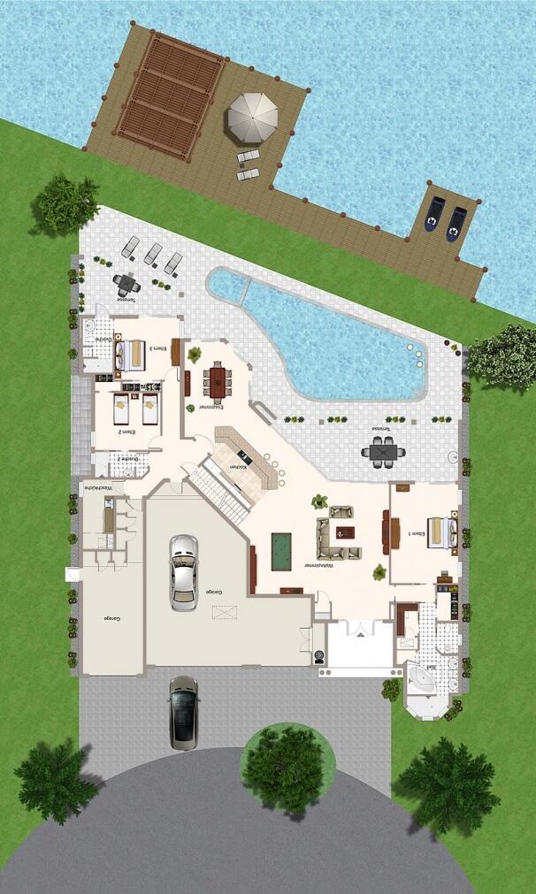 Grundriss Villa The Beachwalk Erdgeschoss Ferienhaus in Cape Coral