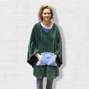 Adult Hospital Gift Fleece Poncho Cape Ivy Emerald Green