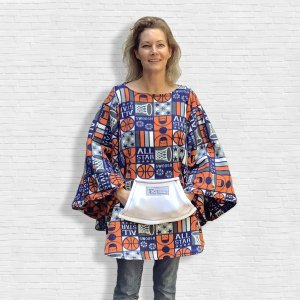 Adult Hospital Gift Fleece Poncho Cape Ivy Orange Blue Basketball All Star