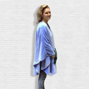 Adult Hospital Gift Fleece Poncho Cape Periwinkle Blue